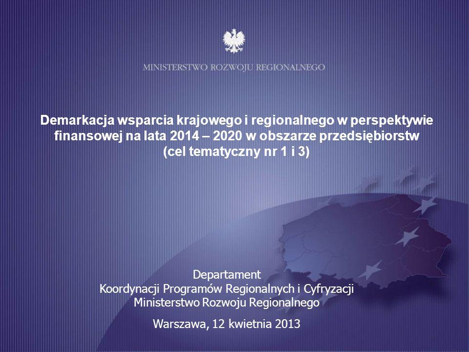 Programowanie perspektywy finansowej na lata 2014-2020 1 Demarkacja wsparcia krajowego i regionalnego w perspektywie finansowej na lata 2014 – 2020 w