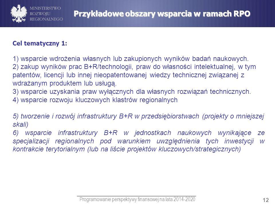 Programowanie perspektywy finansowej na lata 2014-2020 12 Cel tematyczny 1: 1) wsparcie wdrożenia własnych lub zakupionych wyników badań naukowych. 2)