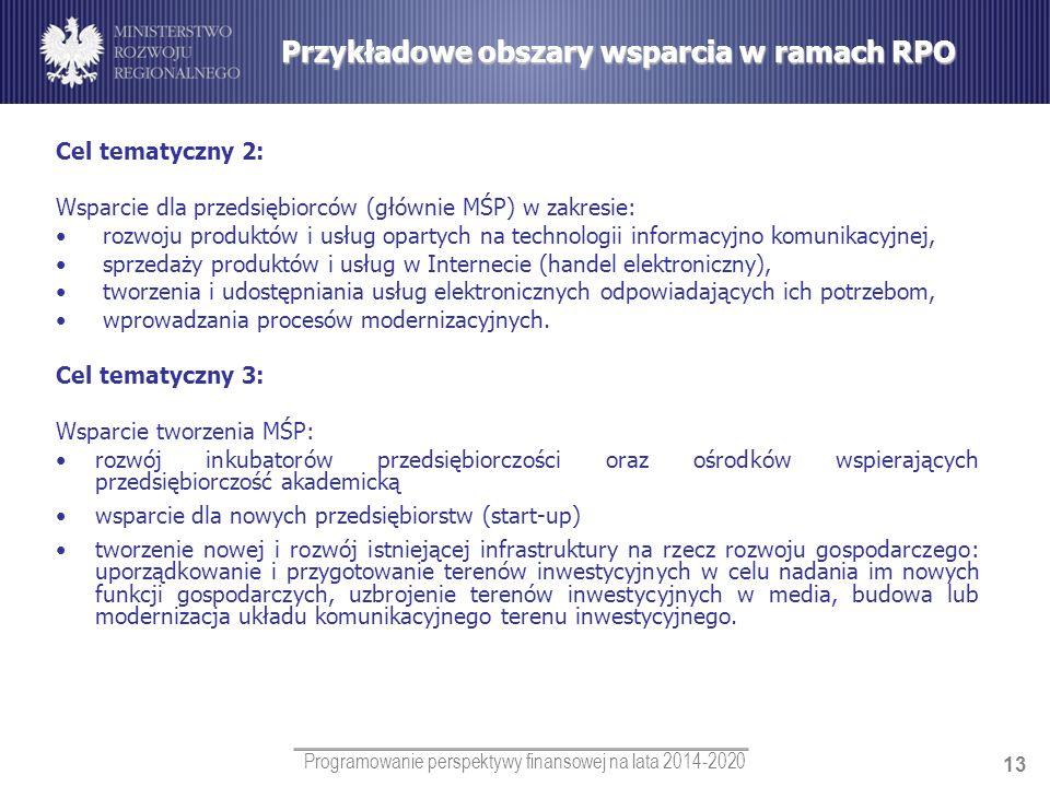 Programowanie perspektywy finansowej na lata 2014-2020 13 Cel tematyczny 2: Wsparcie dla przedsiębiorców (głównie MŚP) w zakresie: rozwoju produktów i
