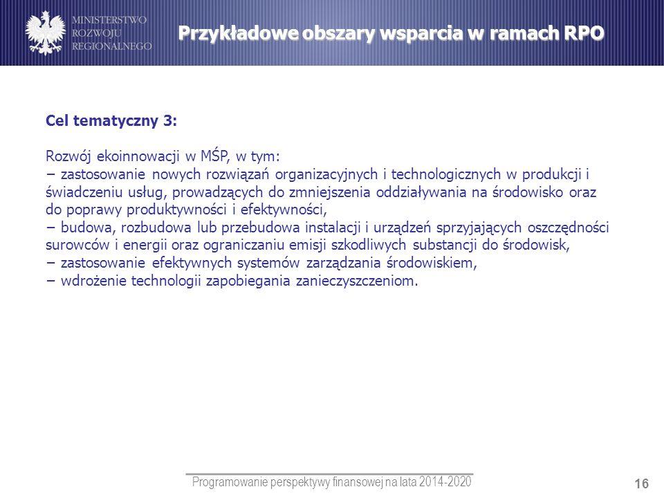 Programowanie perspektywy finansowej na lata 2014-2020 16 Cel tematyczny 3: Rozwój ekoinnowacji w MŚP, w tym: zastosowanie nowych rozwiązań organizacy
