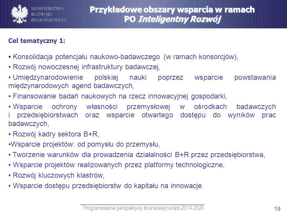 Programowanie perspektywy finansowej na lata 2014-2020 19 Przykładowe obszary wsparcia w ramach PO Inteligentny Rozwój Cel tematyczny 1: Konsolidacja