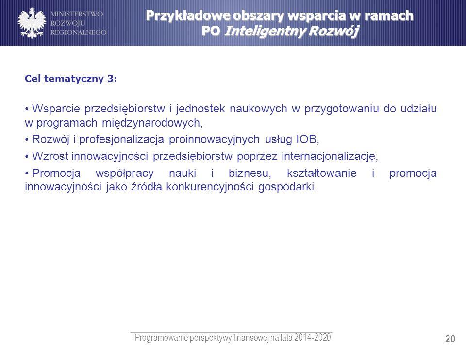 Programowanie perspektywy finansowej na lata 2014-2020 20 Przykładowe obszary wsparcia w ramach PO Inteligentny Rozwój Cel tematyczny 3: Wsparcie prze