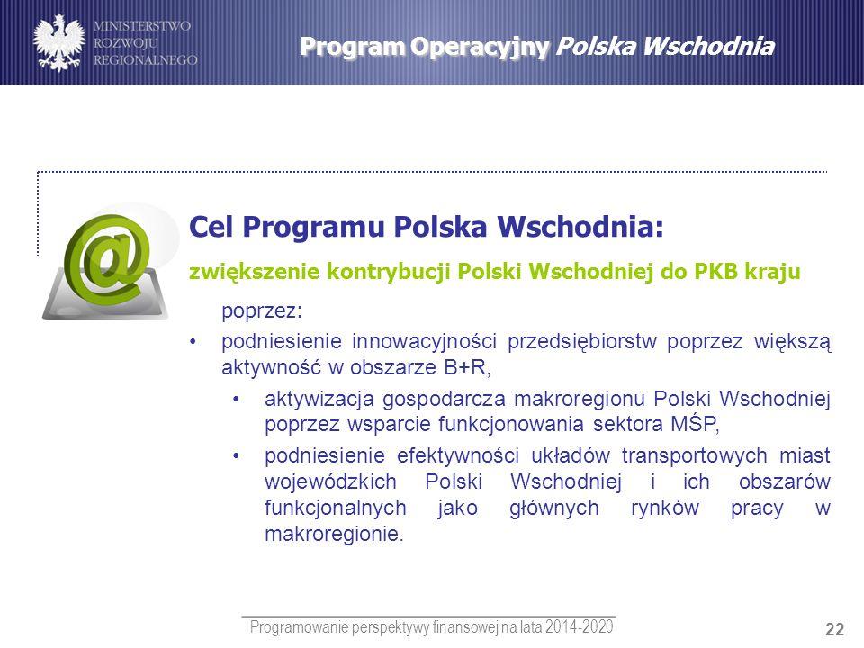 Programowanie perspektywy finansowej na lata 2014-2020 22 Program Operacyjny Program Operacyjny Polska Wschodnia Cel Programu Polska Wschodnia: zwięks