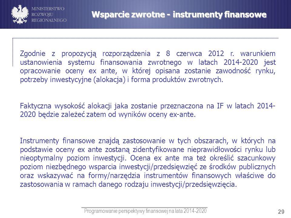 Programowanie perspektywy finansowej na lata 2014-2020 29 Wsparcie zwrotne - instrumenty finansowe Zgodnie z propozycją rozporządzenia z 8 czerwca 201