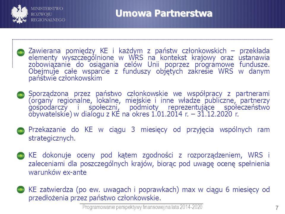 Programowanie perspektywy finansowej na lata 2014-2020 7 Umowa Partnerstwa Zawierana pomiędzy KE i każdym z państw członkowskich – przekłada elementy