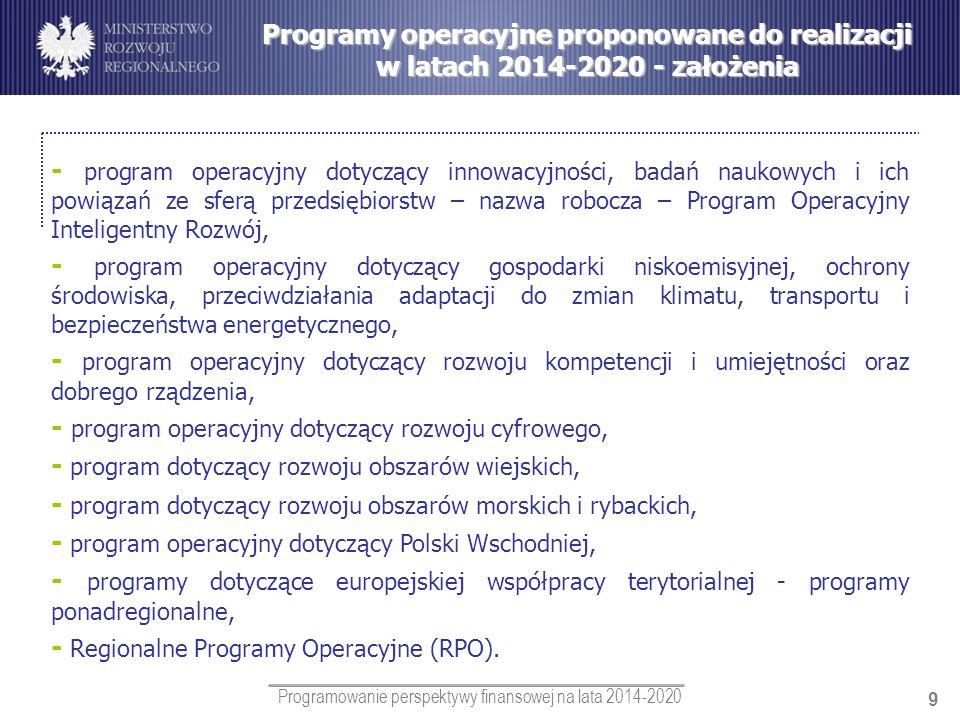 Programowanie perspektywy finansowej na lata 2014-2020 9 Programy operacyjne proponowane do realizacji w latach 2014-2020 - założenia - program operac