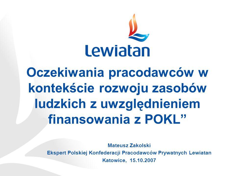 Oczekiwania pracodawców w kontekście rozwoju zasobów ludzkich z uwzględnieniem finansowania z POKL Mateusz Zakolski Ekspert Polskiej Konfederacji Prac