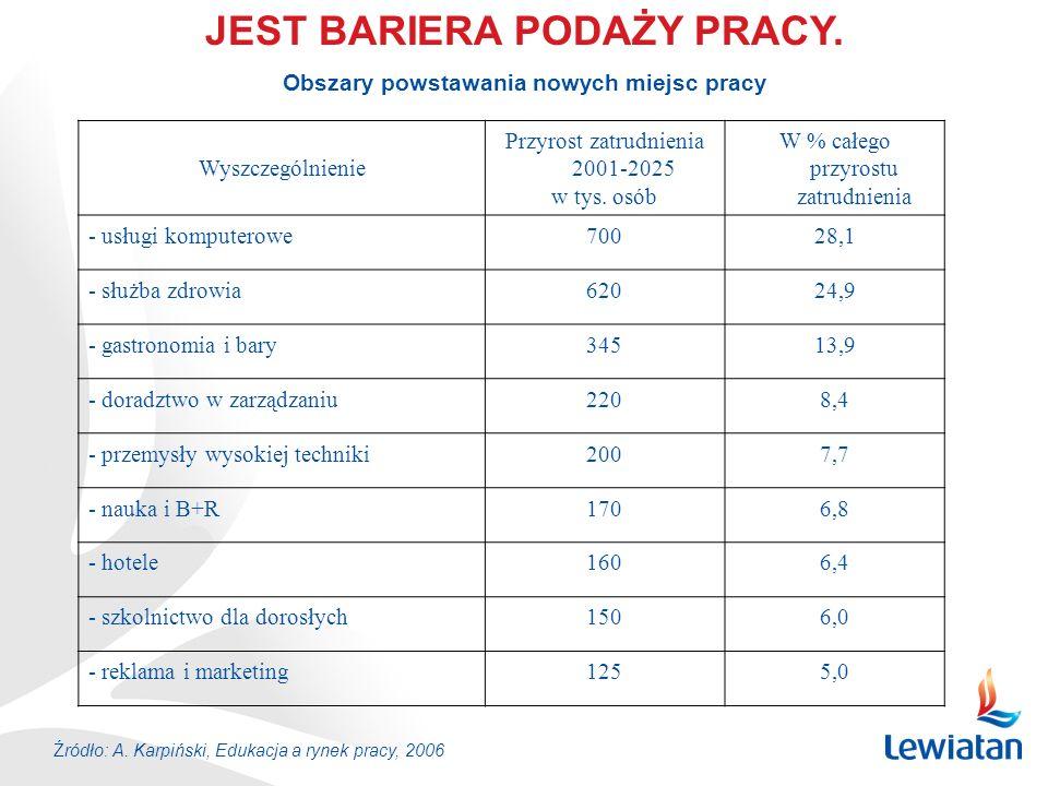 JEST BARIERA PODAŻY PRACY. Wyszczególnienie Przyrost zatrudnienia 2001-2025 w tys. osób W % całego przyrostu zatrudnienia - usługi komputerowe70028,1