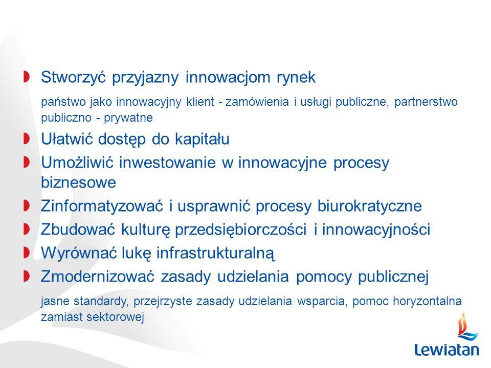 Stworzyć przyjazny innowacjom rynek państwo jako innowacyjny klient - zamówienia i usługi publiczne, partnerstwo publiczno - prywatne Ułatwić dostęp do kapitału Umożliwić inwestowanie w innowacyjne procesy biznesowe Zinformatyzować i usprawnić procesy biurokratyczne Zbudować kulturę przedsiębiorczości i innowacyjności Wyrównać lukę infrastrukturalną Zmodernizować zasady udzielania pomocy publicznej jasne standardy, przejrzyste zasady udzielania wsparcia, pomoc horyzontalna zamiast sektorowej