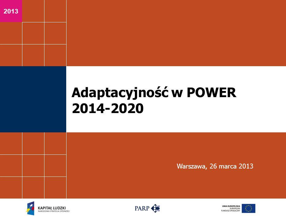 2013 Adaptacyjność w POWER 2014-2020 Warszawa, 26 marca 2013