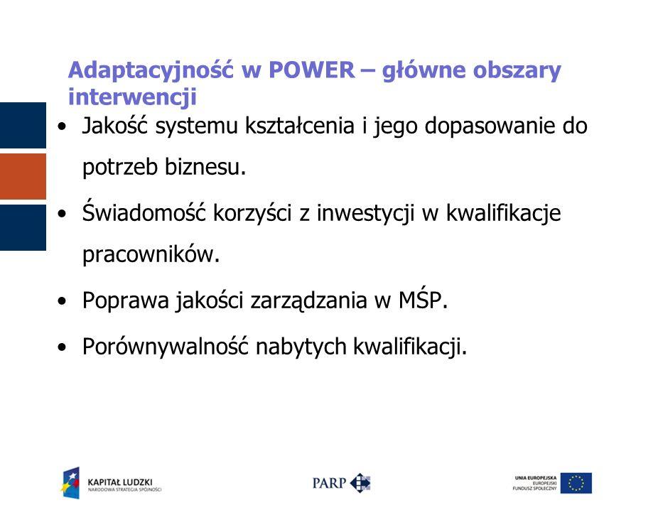 Adaptacyjność w POWER – główne obszary interwencji Jakość systemu kształcenia i jego dopasowanie do potrzeb biznesu. Świadomość korzyści z inwestycji