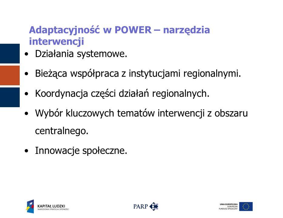 Adaptacyjność w POWER – narzędzia interwencji Działania systemowe. Bieżąca współpraca z instytucjami regionalnymi. Koordynacja części działań regional