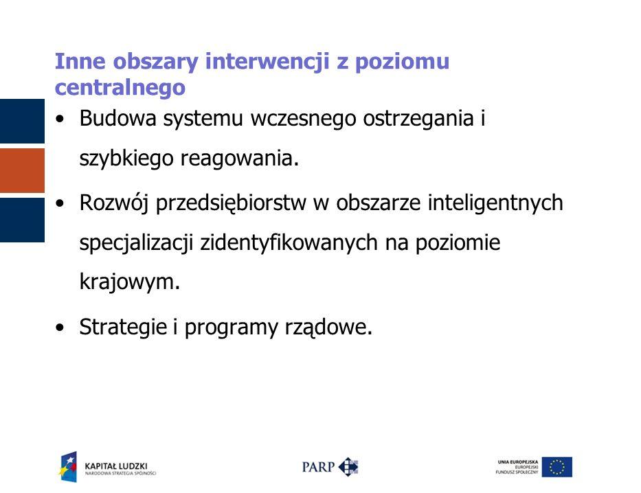 Inne obszary interwencji z poziomu centralnego Budowa systemu wczesnego ostrzegania i szybkiego reagowania. Rozwój przedsiębiorstw w obszarze intelige