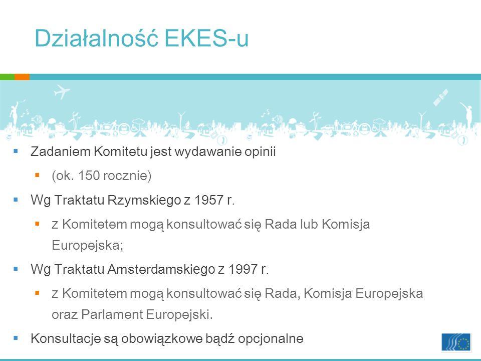 Działalność EKES-u Zadaniem Komitetu jest wydawanie opinii (ok.