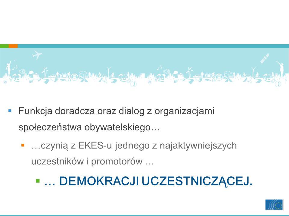 Funkcja doradcza oraz dialog z organizacjami społeczeństwa obywatelskiego… …czynią z EKES-u jednego z najaktywniejszych uczestników i promotorów … … DEMOKRACJI UCZESTNICZĄCEJ.