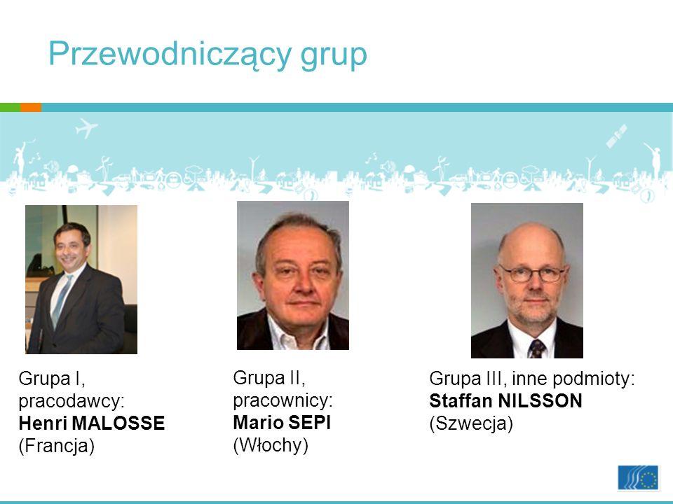 Grupa I, pracodawcy: Henri MALOSSE (Francja) Grupa II, pracownicy: Mario SEPI (Włochy) Grupa III, inne podmioty: Staffan NILSSON (Szwecja) Przewodniczący grup