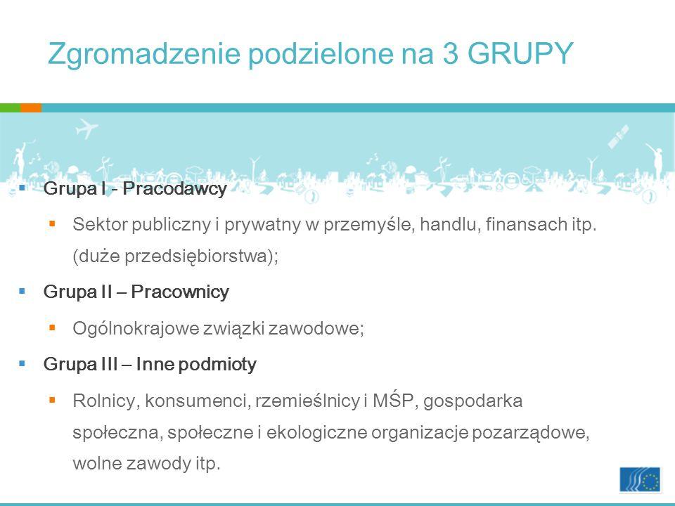 Zgromadzenie podzielone na 3 GRUPY Grupa I - Pracodawcy Sektor publiczny i prywatny w przemyśle, handlu, finansach itp.