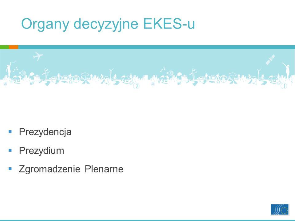 Organy decyzyjne EKES-u Prezydencja Prezydium Zgromadzenie Plenarne