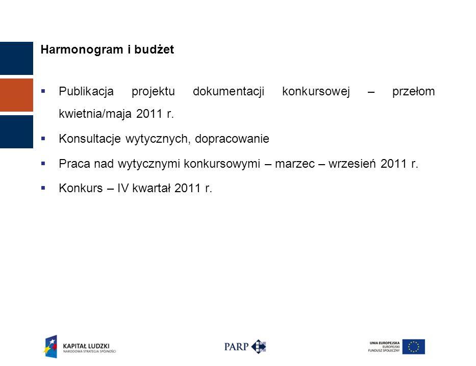 Harmonogram i budżet Publikacja projektu dokumentacji konkursowej – przełom kwietnia/maja 2011 r. Konsultacje wytycznych, dopracowanie Praca nad wytyc