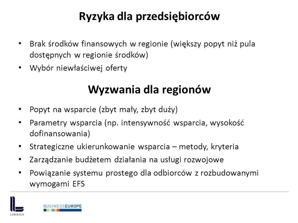 Ryzyka dla przedsiębiorców Brak środków finansowych w regionie (większy popyt niż pula dostępnych w regionie środków) Wybór niewłaściwej oferty Wyzwan
