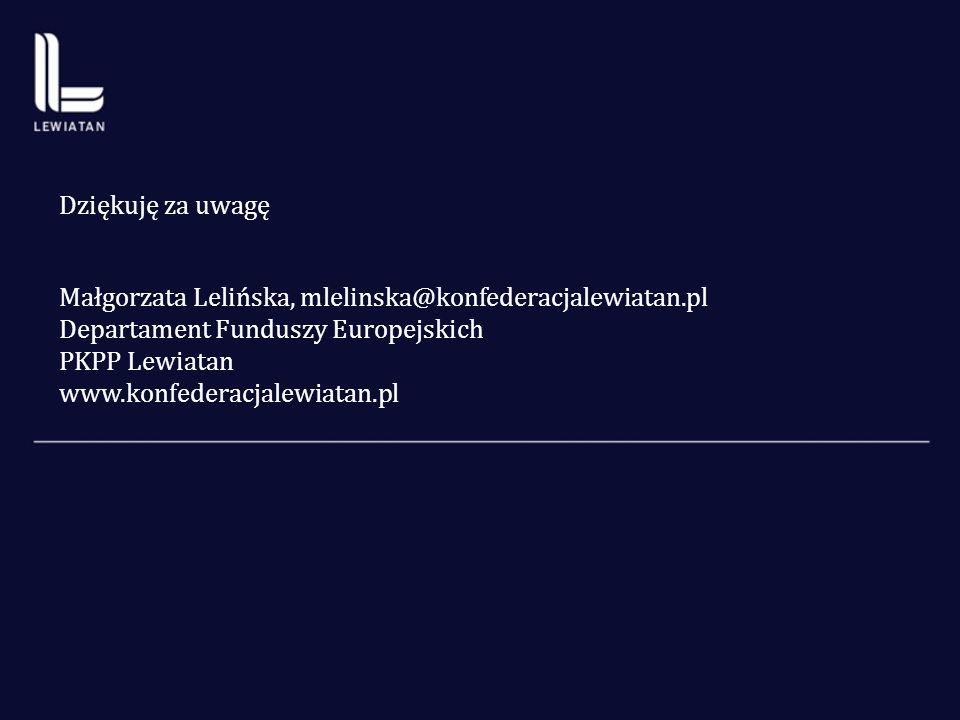 Dziękuję za uwagę Małgorzata Lelińska, mlelinska@konfederacjalewiatan.pl Departament Funduszy Europejskich PKPP Lewiatan www.konfederacjalewiatan.pl