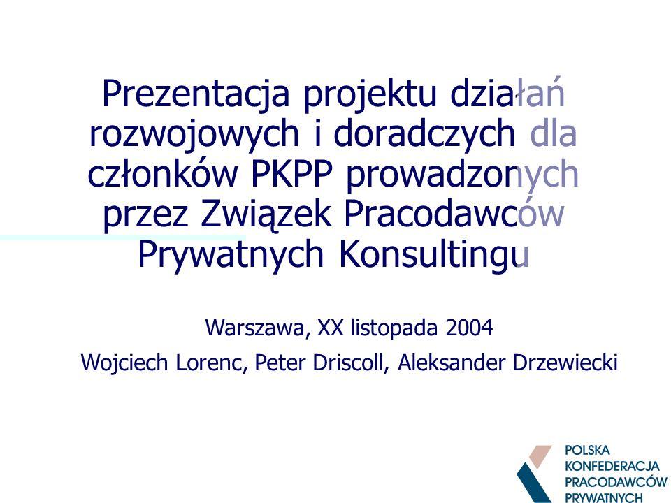 Prezentacja projektu działań rozwojowych i doradczych dla członków PKPP prowadzonych przez Związek Pracodawców Prywatnych Konsultingu Warszawa, XX listopada 2004 Wojciech Lorenc, Peter Driscoll, Aleksander Drzewiecki