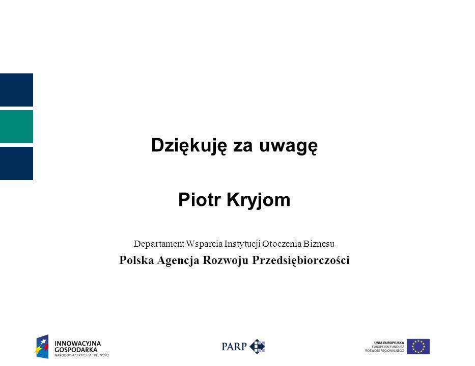 Dziękuję za uwagę Piotr Kryjom Departament Wsparcia Instytucji Otoczenia Biznesu Polska Agencja Rozwoju Przedsiębiorczości Polska Agencja Rozwoju Przedsiębiorczości ©17