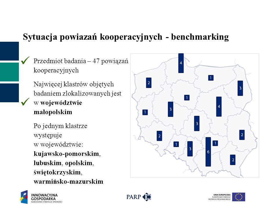 Sytuacja powiazań kooperacyjnych - benchmarking Przedmiot badania – 47 powiązań kooperacyjnych Najwięcej klastrów objętych badaniem zlokalizowanych jest w województwie małopolskim Po jednym klastrze występuje w województwie: kujawsko-pomorskim, lubuskim, opolskim, świętokrzyskim, warmińsko-mazurskim