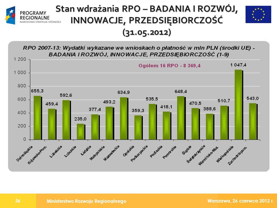 Ministerstwo Rozwoju Regionalnego 36 Warszawa, 26 czerwca 2012 r.