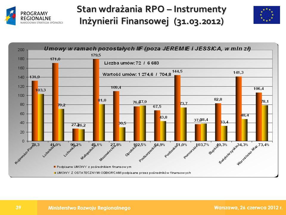 Ministerstwo Rozwoju Regionalnego 39 Warszawa, 26 czerwca 2012 r.