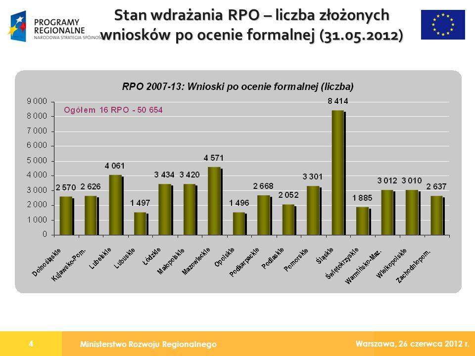 Ministerstwo Rozwoju Regionalnego 4 Warszawa, 26 czerwca 2012 r.
