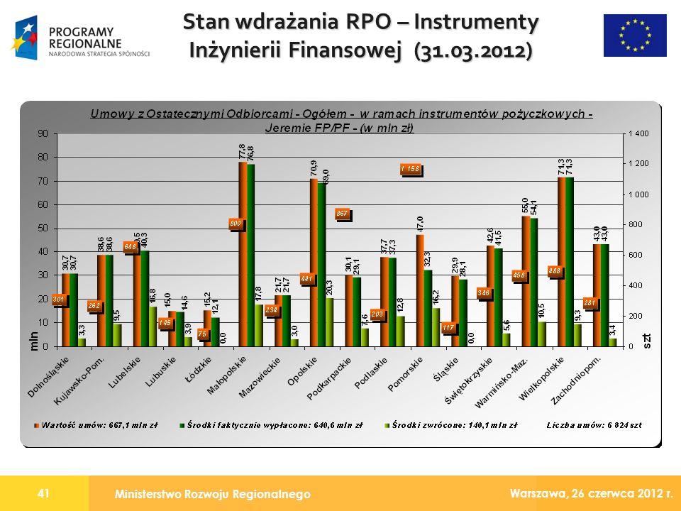 Ministerstwo Rozwoju Regionalnego 41 Warszawa, 26 czerwca 2012 r.
