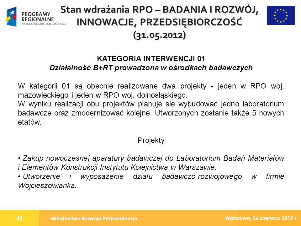 Ministerstwo Rozwoju Regionalnego 43 Warszawa, 26 czerwca 2012 r.