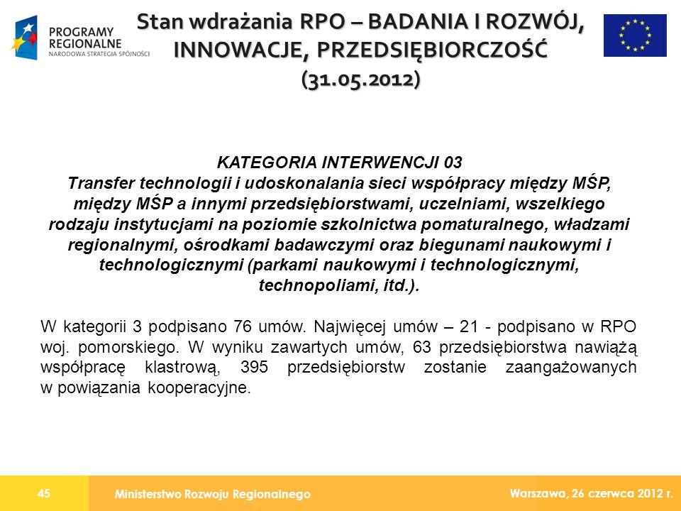 Ministerstwo Rozwoju Regionalnego 45 Warszawa, 26 czerwca 2012 r.