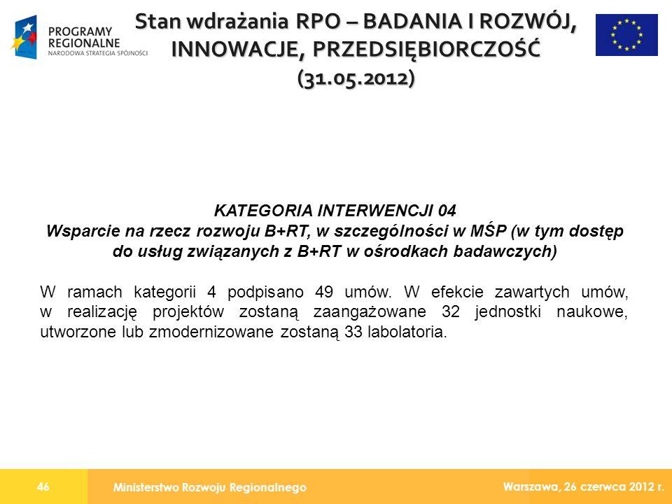 Ministerstwo Rozwoju Regionalnego 46 Warszawa, 26 czerwca 2012 r.