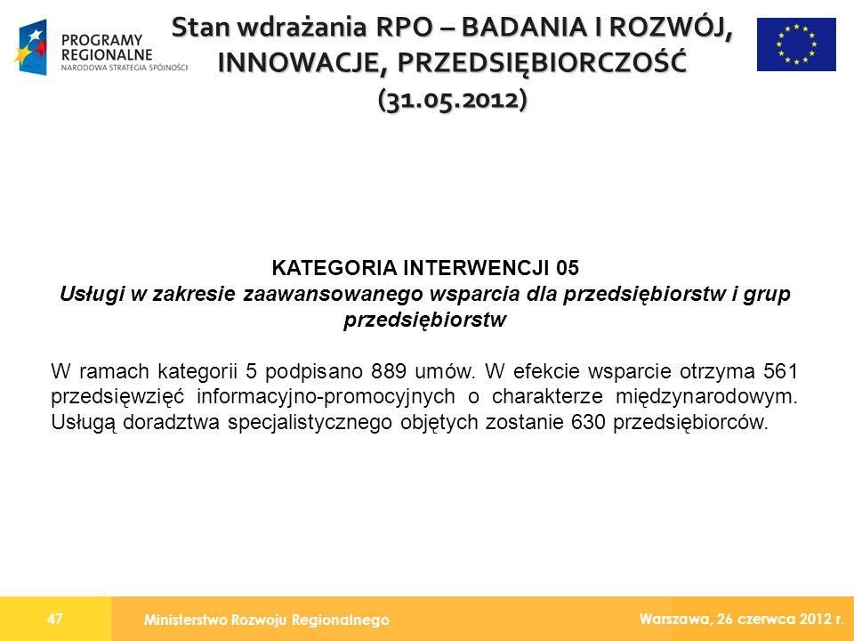 Ministerstwo Rozwoju Regionalnego 47 Warszawa, 26 czerwca 2012 r.