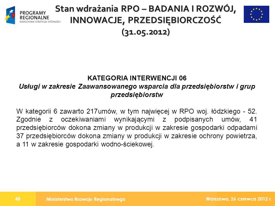Ministerstwo Rozwoju Regionalnego 48 Warszawa, 26 czerwca 2012 r.
