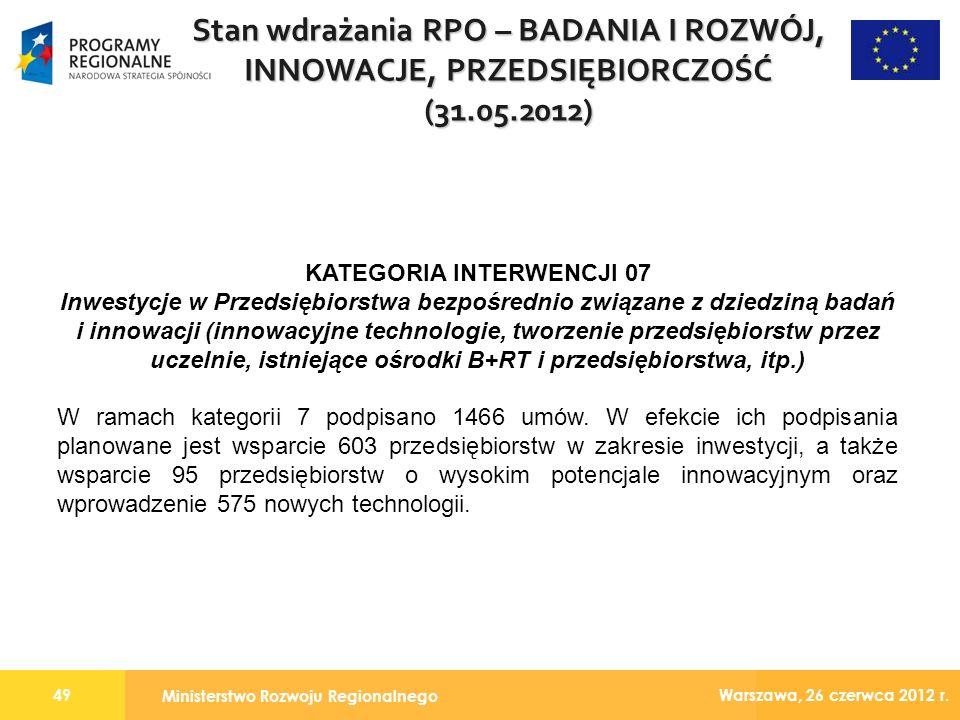 Ministerstwo Rozwoju Regionalnego 49 Warszawa, 26 czerwca 2012 r.