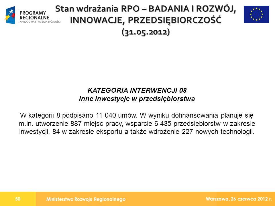 Ministerstwo Rozwoju Regionalnego 50 Warszawa, 26 czerwca 2012 r.