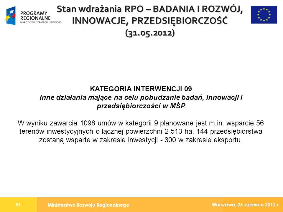 Ministerstwo Rozwoju Regionalnego 51 Warszawa, 26 czerwca 2012 r.