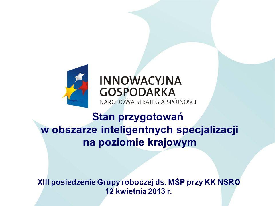 2 Krajowe ramy strategiczne dla inteligentnych specjalizacji Strategia Innowacyjności i Efektywności Gospodarki Krajowy Program Badań Program Rozwoju Przedsiębiorstw