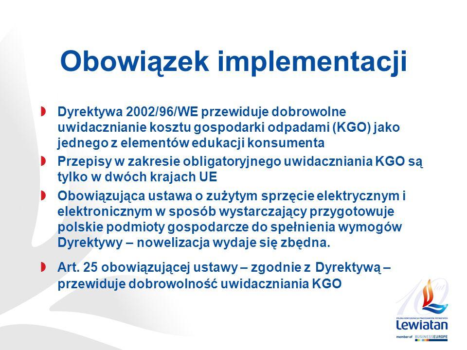 Obowiązek implementacji Dyrektywa 2002/96/WE przewiduje dobrowolne uwidacznianie kosztu gospodarki odpadami (KGO) jako jednego z elementów edukacji konsumenta Przepisy w zakresie obligatoryjnego uwidaczniania KGO są tylko w dwóch krajach UE Obowiązująca ustawa o zużytym sprzęcie elektrycznym i elektronicznym w sposób wystarczający przygotowuje polskie podmioty gospodarcze do spełnienia wymogów Dyrektywy – nowelizacja wydaje się zbędna.