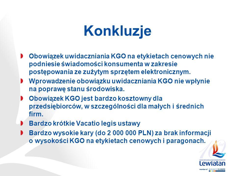 Konkluzje Obowiązek uwidaczniania KGO na etykietach cenowych nie podniesie świadomości konsumenta w zakresie postępowania ze zużytym sprzętem elektronicznym.