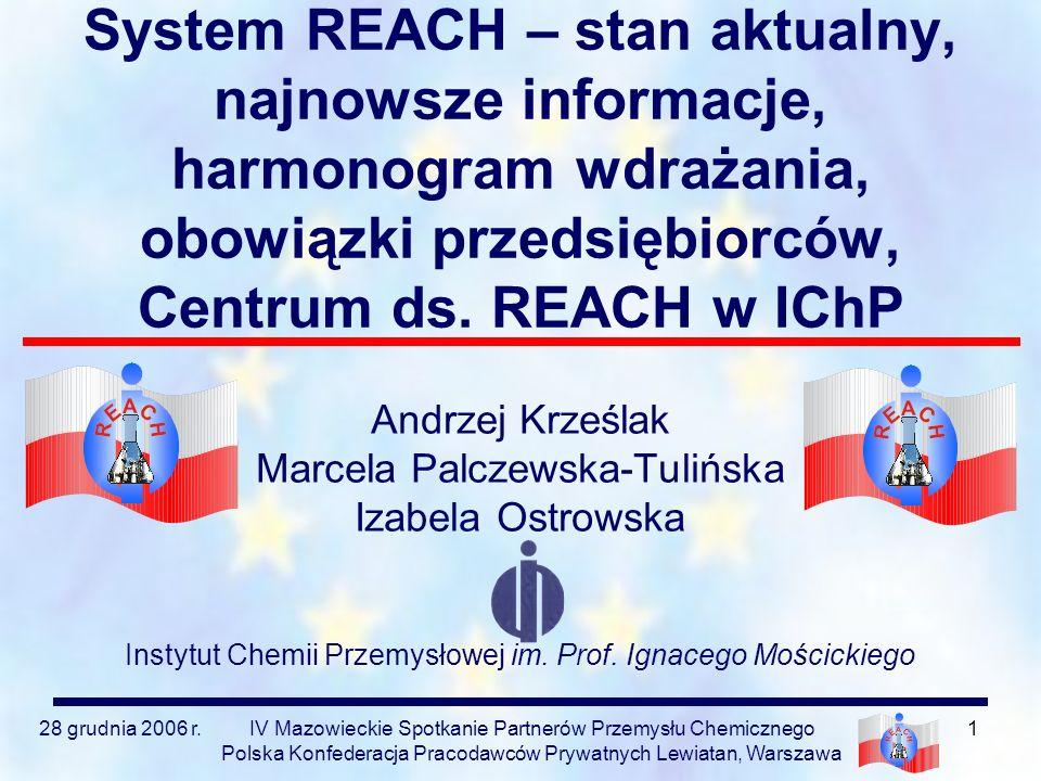 28 grudnia 2006 r.IV Mazowieckie Spotkanie Partnerów Przemysłu Chemicznego Polska Konfederacja Pracodawców Prywatnych Lewiatan, Warszawa 42 Konferencja BIS System REACH: Pozbądź się złudzeń!!.