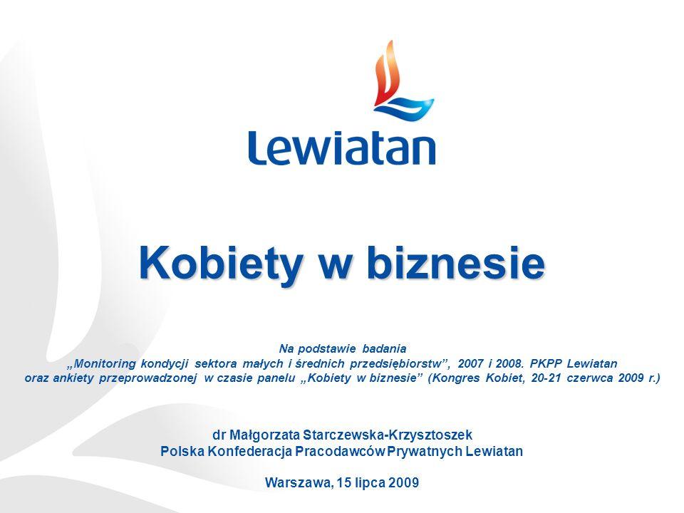 Kobiety w biznesie dr Małgorzata Starczewska-Krzysztoszek Polska Konfederacja Pracodawców Prywatnych Lewiatan Warszawa, 15 lipca 2009 Na podstawie badania Monitoring kondycji sektora małych i średnich przedsiębiorstw, 2007 i 2008.