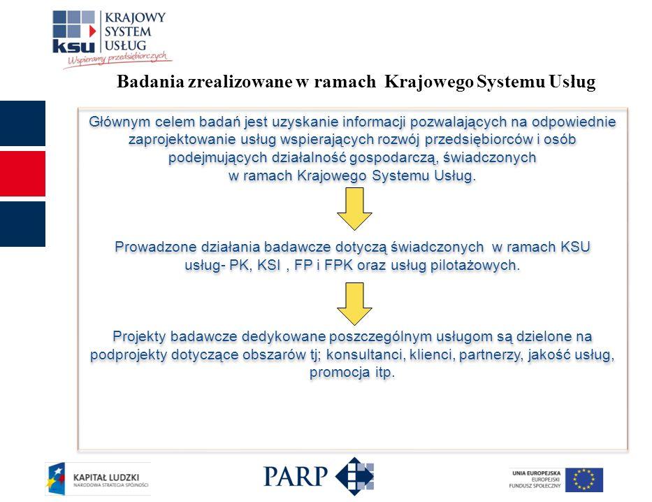 Badania zrealizowane w ramach Krajowego Systemu Usług Głównym celem badań jest uzyskanie informacji pozwalających na odpowiednie zaprojektowanie usług