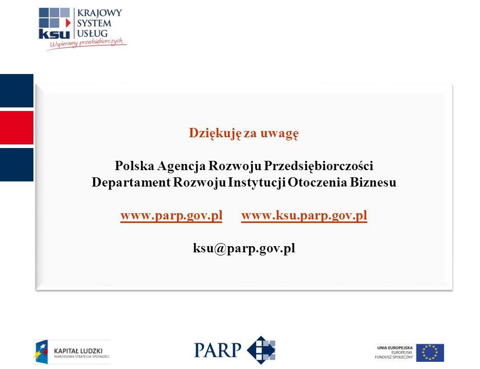 26 Dziękuję za uwagę Polska Agencja Rozwoju Przedsiębiorczości Departament Rozwoju Instytucji Otoczenia Biznesu www.parp.gov.plwww.parp.gov.pl www.ksu