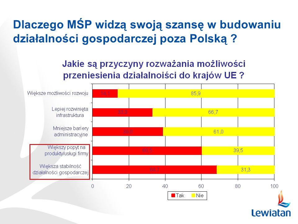 Czy MŚP widzą swoją szansę w budowaniu działalności gospodarczej poza Polską ? 318 tys. MŚP