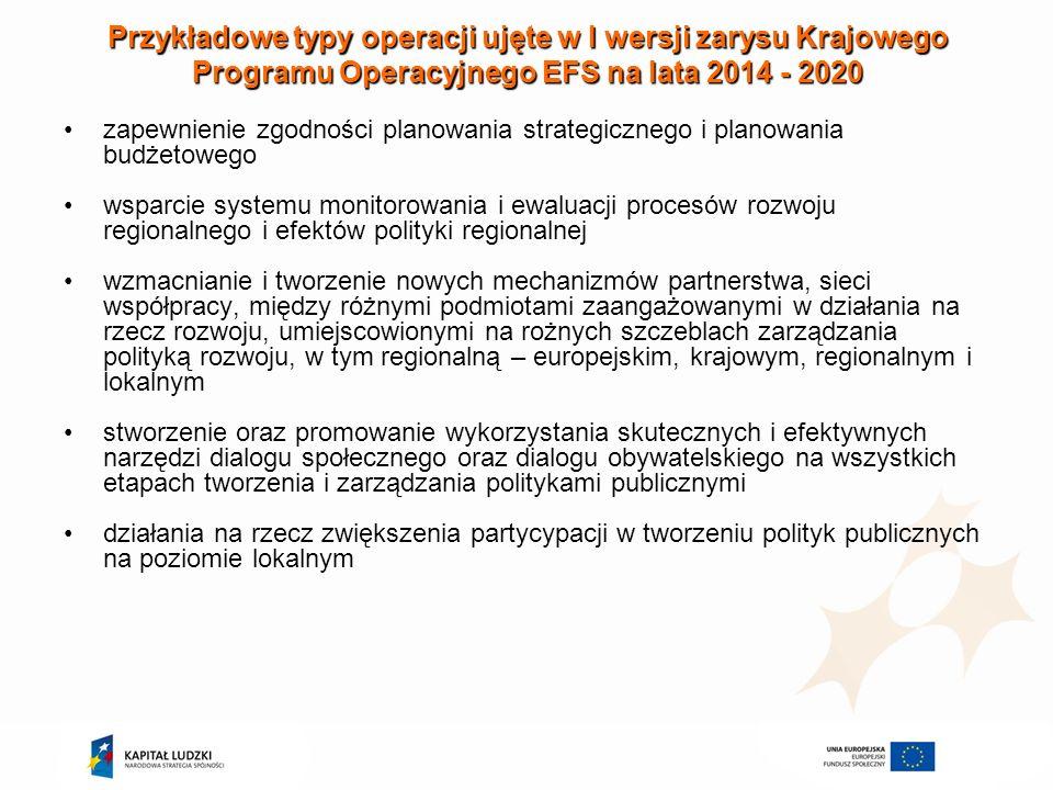Przykładowe typy operacji ujęte w I wersji zarysu Krajowego Programu Operacyjnego EFS na lata 2014 - 2020 zapewnienie zgodności planowania strategiczn