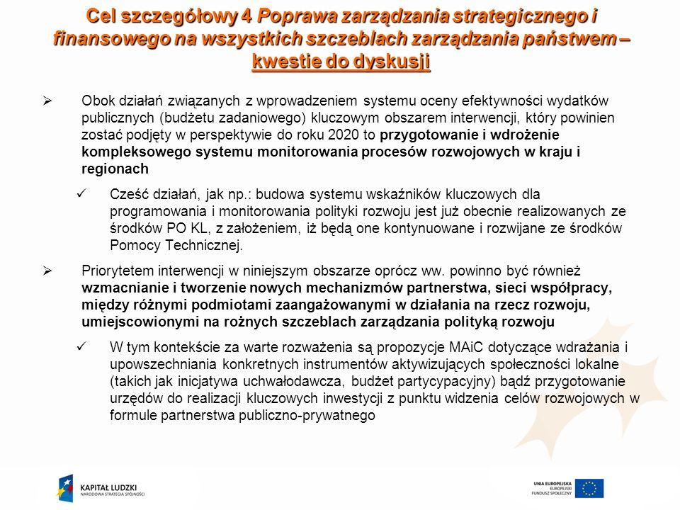Cel szczegółowy 4 Poprawa zarządzania strategicznego i finansowego na wszystkich szczeblach zarządzania państwem – kwestie do dyskusji Obok działań zw